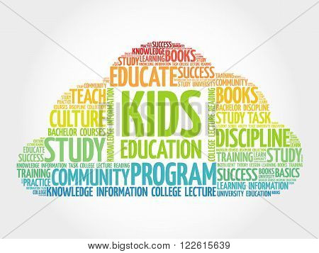 Kids Education word cloud education concept, presentation background
