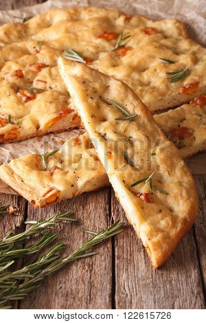 Traditional Italian Focaccia With Rosemary Close Up. Vertical