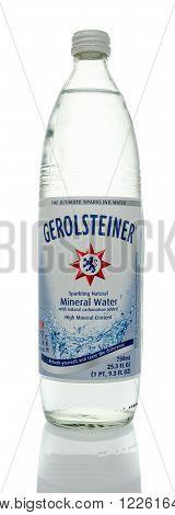 Winneconne WI - 5 March 2016: A bottle of Gerolsteiner sparkling mineral water