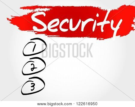 SECURITY blank list business concept, presentation background