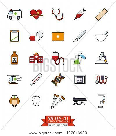 Medical and healthcare related filled line icons set