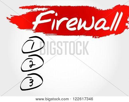 FIREWALL blank list business concept, presentation background