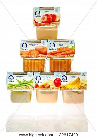 Winneconne WI - 19 Nov 2015: Packages of Gerber all natural baby food in different flavors