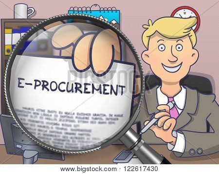 E-Procurement. Officeman Sitting in Office and Showing through Magnifying Glass Concept on Paper. Multicolor Modern Line Illustration in Doodle Style.