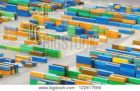 Cargo container in port - transportation at a day