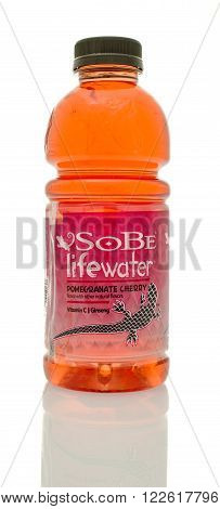 Winneconne WI - 14 Jan 2016: Bottle of Sobe lifewater in Pomegranate cherry flavor.