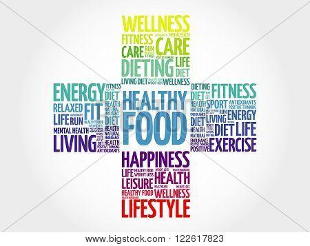 Healthy Living word cloud, health cross concept