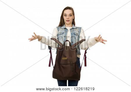 Pretty girl in jeans holding rucksack isolated on white