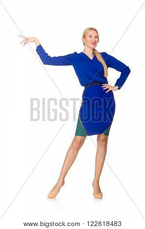 Blond woman in bright navy dress isoalted on white