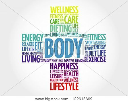 BODY word cloud health cross concept, presentation background