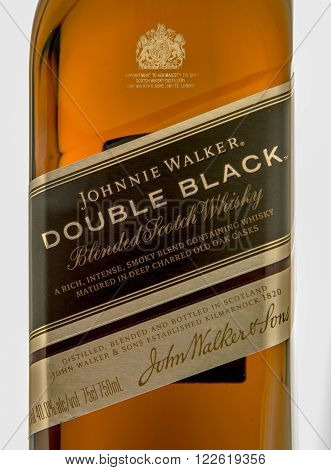Winneconne WI - 10 March 2016: A close up shot of Johnnie Walker double black whisky