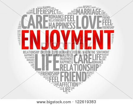 Enjoyment concept heart word cloud, presentation background