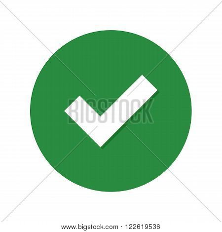 Flat icon checkmark with shadow. Vector illustration.