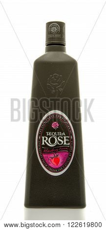 Winneconne WI - 19 March 2016: A bottle of Tequila Rose strawberry cream liqueur