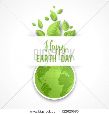 Earth day concept for design banner,ticket, leaflet and so on.Template page for Earth day. Holiday card. Green globe and leaves.