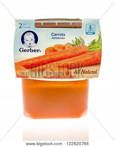 Winneconne WI - 19 Nov 2015: Package of Gerber carrots all natural baby food