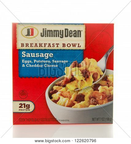 Winneconne WI - 2 March 2016: Box of Jimmy Dean breakfast bowl with sausage eggs potatoes and cheddar cheese.