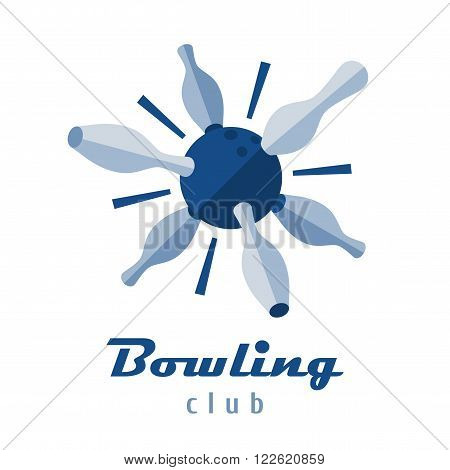 Bowling logo vector template. Ball and pins icon