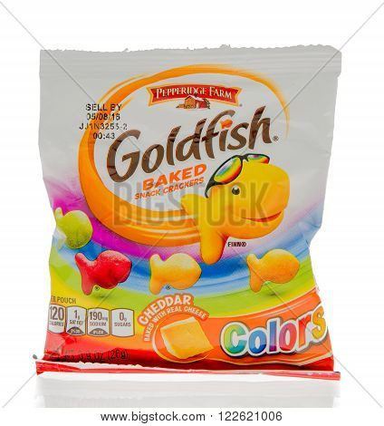 Winneconne WI - 1 March 2016: A bag of Goldfish baked crackers in different colors in cheddar flavor.