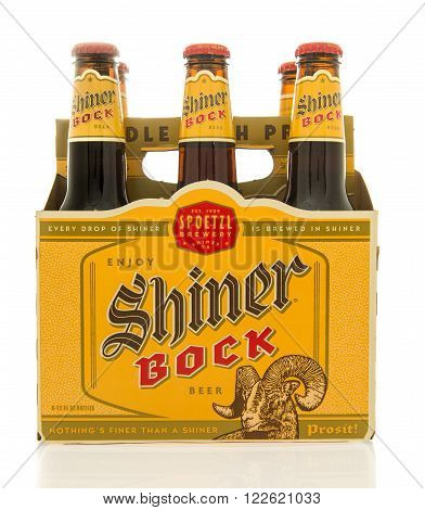 Winneconne WI - 26 Feb 2016: Six pack of Shiner Bock beer that is brewed in Shiner Texas