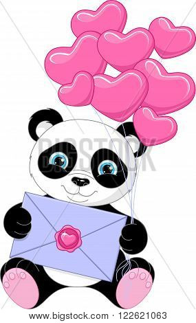 Image cute panda with letter, EPS 8