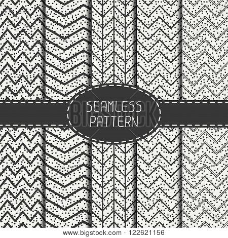 Set of geometric abstract chevron zigzag stripes pattern. Hipster striped. Wrapping paper. Scrapbook paper. Vector illustration. Background. Graphic texture with randomly disposed spots.