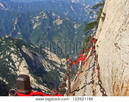 View from The Danger trail of Mount Huashan. China.