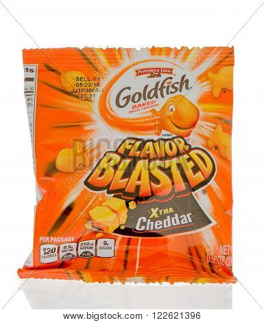 Winneconne WI - 1 March 2016: A bag of Goldfish baked crackers in xtra cheddar flavor.