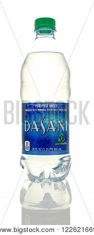 Winneconne WI - 5 March 2016: A bottle of Dasani drinking water.