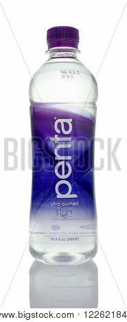 Winneconne WI - 5 March 2016: A bottle of Penta water