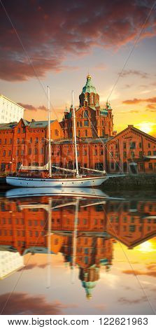 Embankment In Helsinki At Summer Evening, Finland.