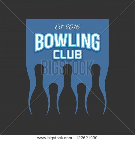 Vector bowling logo. Pins icon. Template logo for club competition tournament
