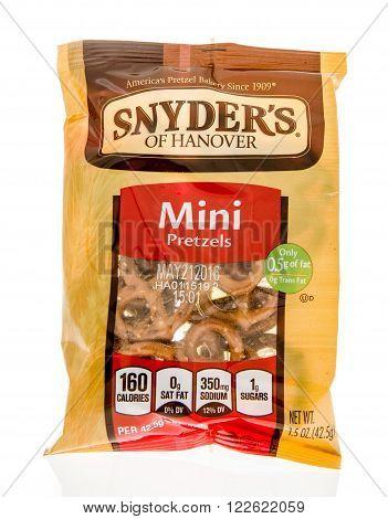 Winneconne WI - 5 March 2016: A bag of Snyder's of Hanover mini pretzels