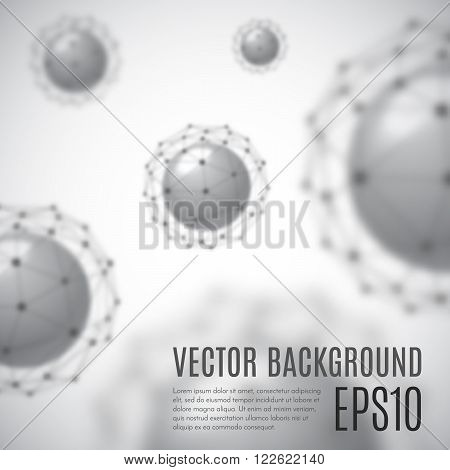 Grey cell background. Life and biology medicine scientific molecular research dna. Grey cell in focus. Vector illustration