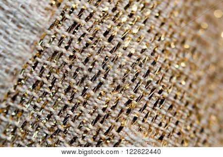 Blurred Background With White Fabric Golden Shiny