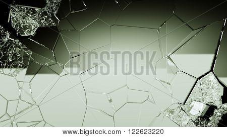 Demolished And Cracked Glass On Black