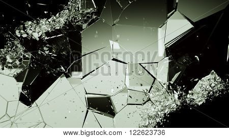 Cracked And Damaged Glass Pieces On Black