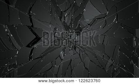 Demolished Or Cracked Glass On Black