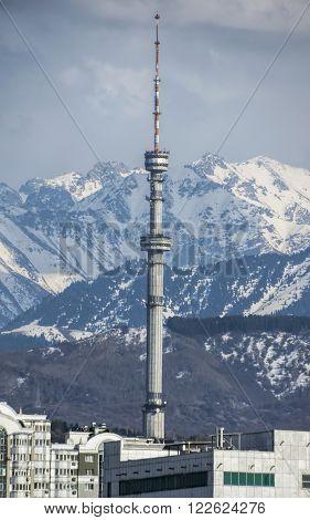 ALMATY KAZAKHSTAN - MARCH 21 2016: Kok Tobe telecommunication tower in Almaty Kazakhstan.