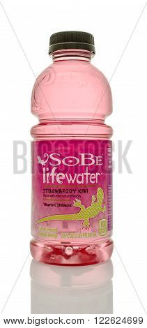 Winneconne WI - 14 Jan 2016: Bottle of Sobe lifewater in Strawberry Kiwi flavor.