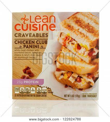 Winneconne WI - 2 March 2016: A box of Lean Cuisine chicken club panini