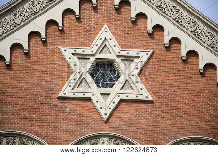 Star Of David On The Great Synagogue In Pilsen, Czech Republic