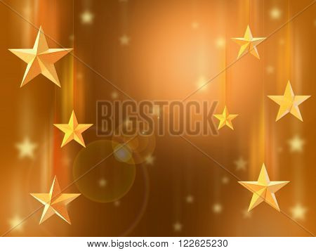 Star background. Golden light background with shiny stars. Falling stars.