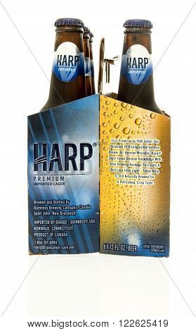 Winneconne WI - 15 March 2016: A six pack of Harp beer