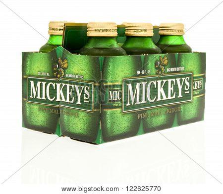 Winneconne WI - 15 March 2016: A six pack of Mickeys beer
