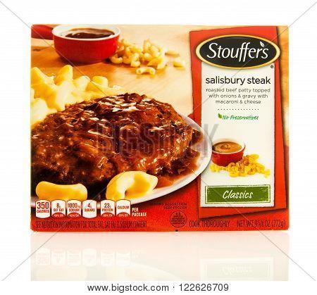 Waupun WI - 9 March 2016: Box of Stouffer's salisbury steak frozen dinner