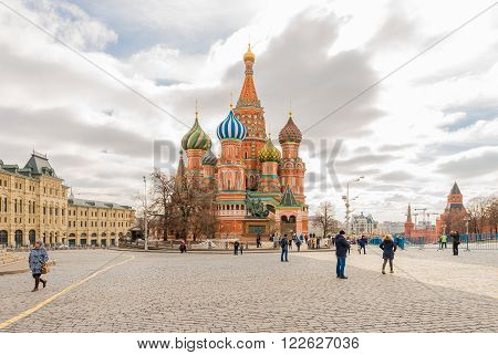 Moscow Russia - March 13 2016: the St. Basil's Cathedral on red square.