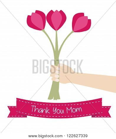 Thank you mother's day card - child hand holding flowers bouquet for his mom