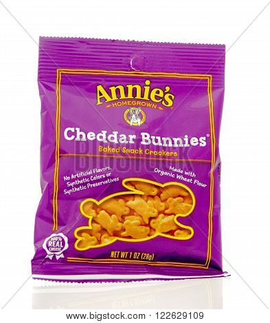 Winneconne WI - 19 Feb 2016: Bag of Annie's baked snack crackers in cheddar bunnies flavor.