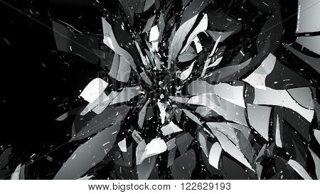 Shattered Glass On Black With Motion Blur